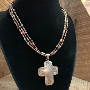 925 Sterling Silver Multi-Stone Necklace w/ Cross